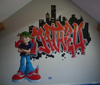fresque murale tag graph graf chambre enfant