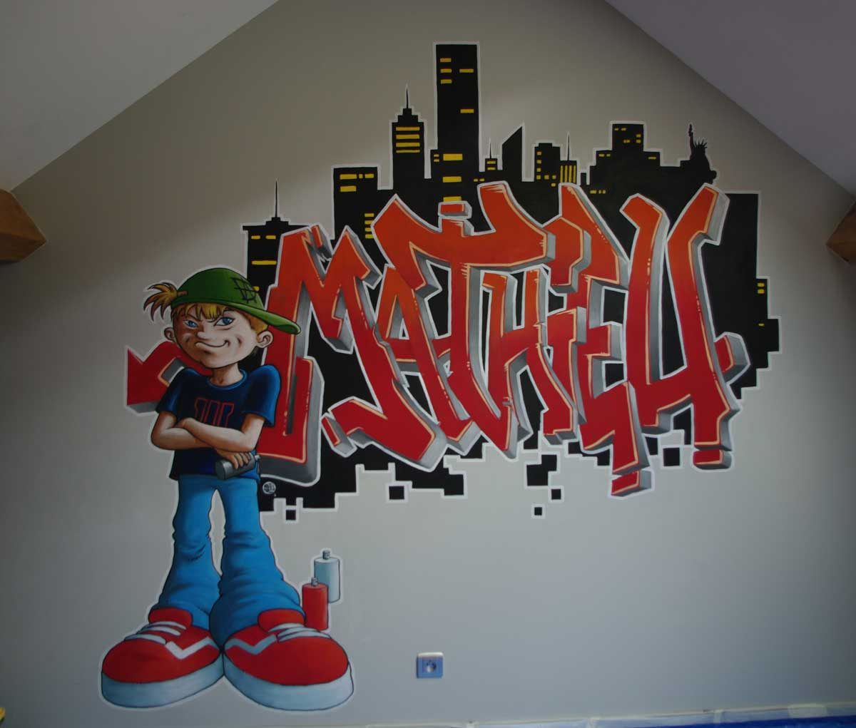 fresque graffiti chambre enfant sylvano arts graphiques. Black Bedroom Furniture Sets. Home Design Ideas